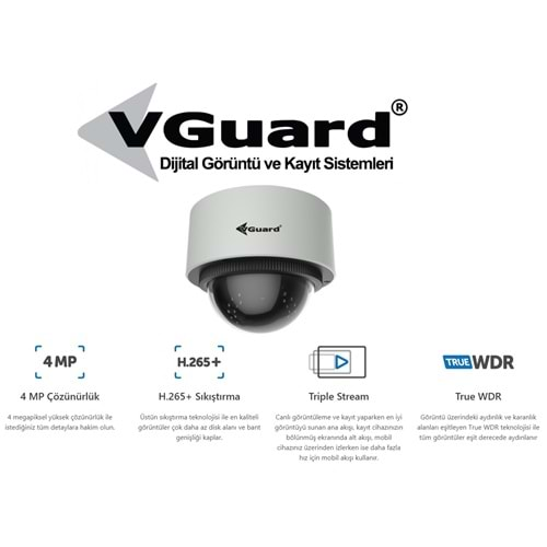 VGUARD VG-400-DM 4 MP IP 2.8-12MM MOTORİZE LENS H.265+ DOME KAMERA